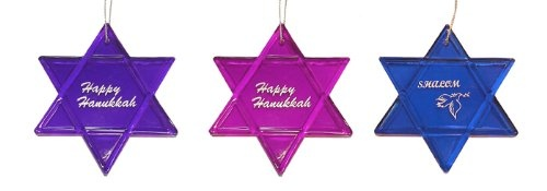 """$153.99-$209.99 Pack of 24 Chanukah Ornaments Item #H7088 Celebrate Hanukkah, bar-mitzvahs and bat-mitzvahs with these versatile light purple, dark purple and blue Star of David ornaments The front of each features """"Shalom"""" with a  white dove holding an olive branch in its mouth, symbolizing peace or """"Happy Hanukkah"""" written in white cursive The """"Star of David"""" is known in Hebrew as Magen David, ..."""