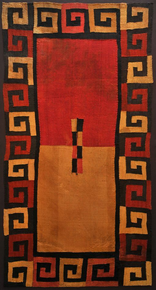 Peru | GREEK KEY CUSHMA Nasca Culture - South Coast of Peru 200 - 600 AD Camelid Wool Yarns and Natural Dyes 86 x 46 in.