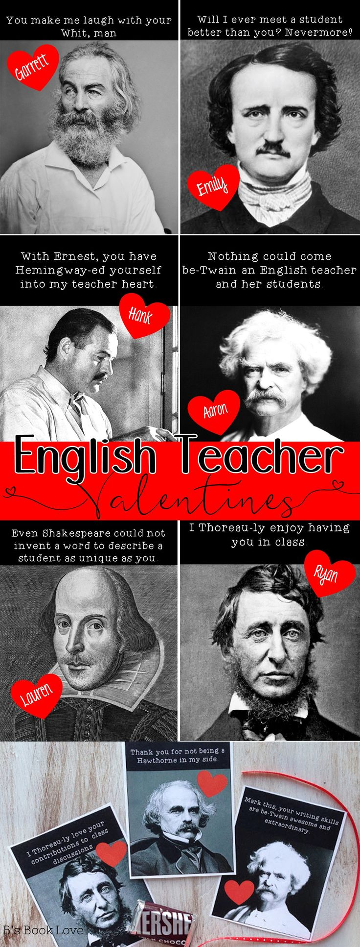 English Teacher Valentines, Library Valentine's Day Posters and Decorations
