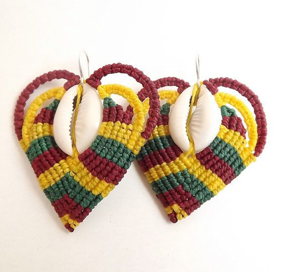 Macrame Earrings  Rasta Heart Cowrie Shell by neferknots on Etsy, $45.00