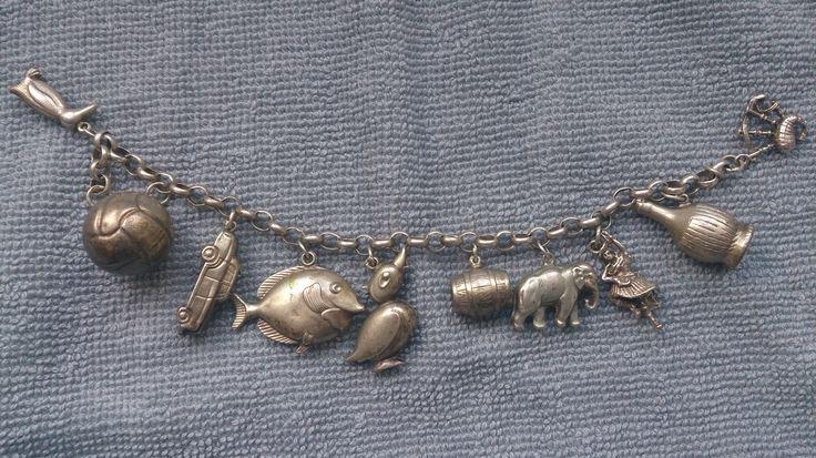 Mooie antieke zilveren bedel armband