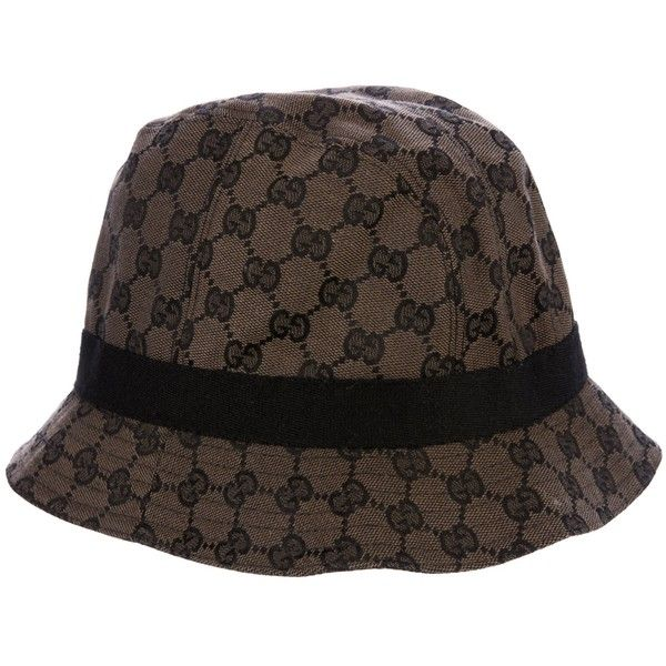 Pre-owned Gucci Jacquard Bucket Hat ($175) ❤ liked on Polyvore featuring accessories, hats, black, bucket hats, gucci, print bucket hat, gucci hat and band hats