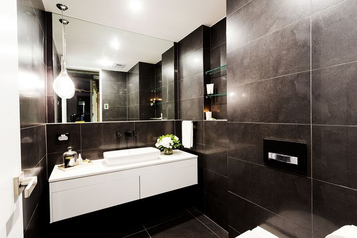 Tim and anastasia 39 s powder room from the block triple for Charcoal bathroom designs