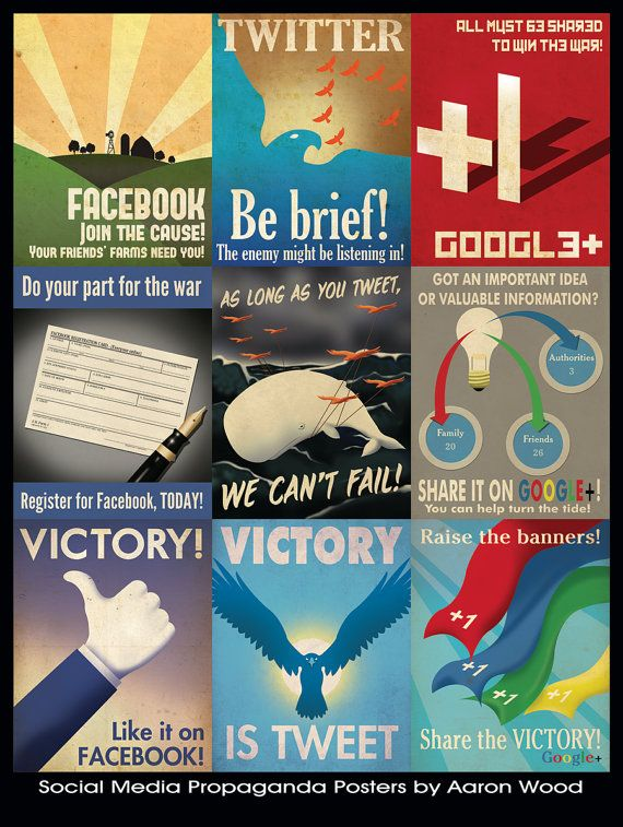Social Media propaganda posters by Aaron Wood