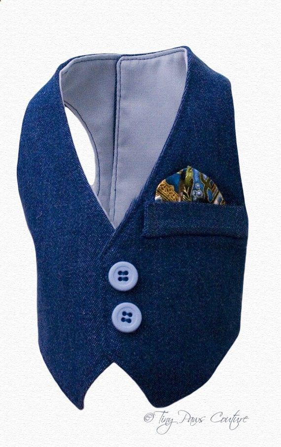 Denim Formal Style Designer Boy Dog Vest by tinypawscouture
