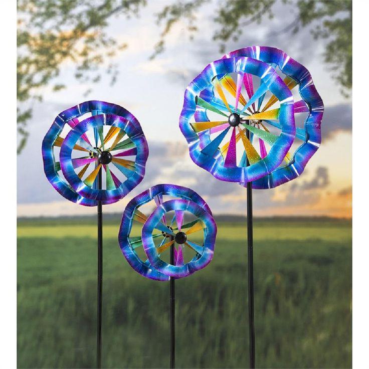 Colorful Waves Metal Wind Spinner Yard Art & Decor