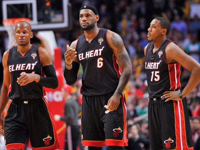 Miami Heat 2013, l-r: Ray Allen, LeBron James, Mario Chalmers #NBA #basketball #miamiheat