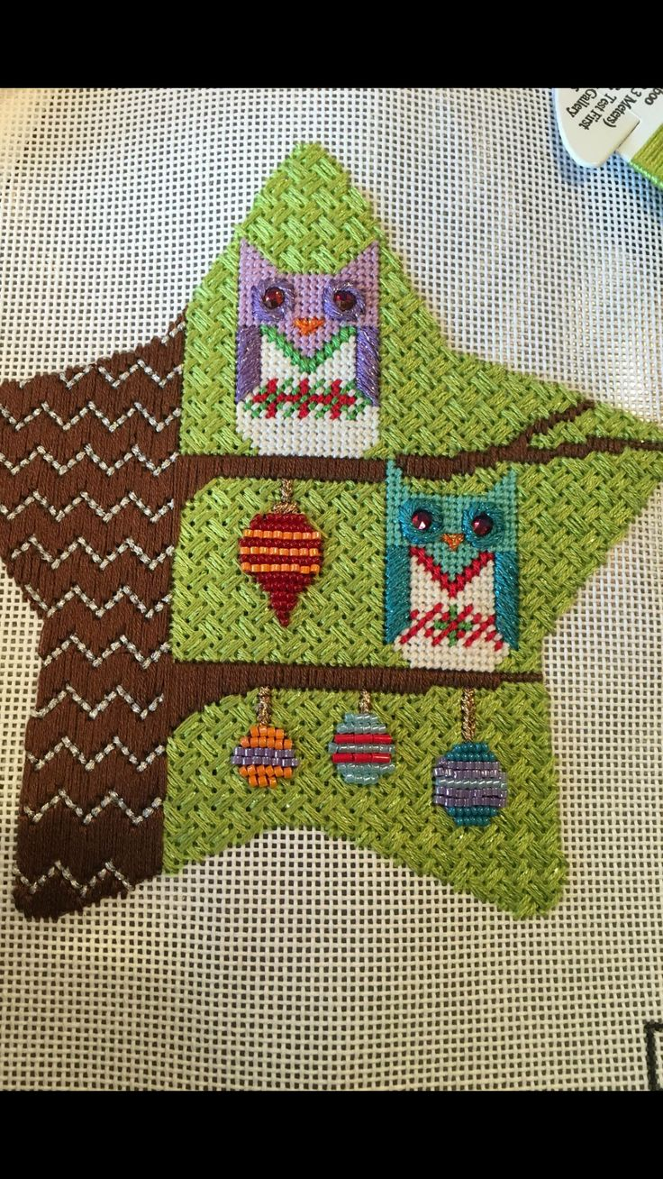 Eye candy needlepoint owl and ornaments star