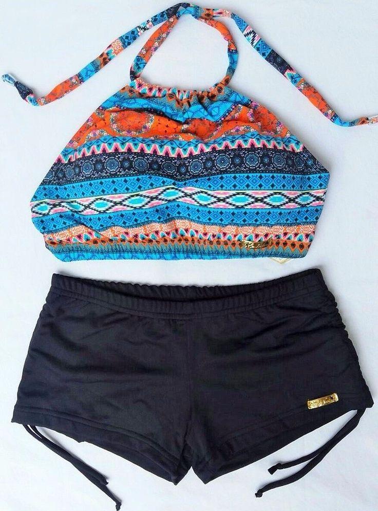 conjunto biquíni/bikíni top cropped e sunkini - verão 2017