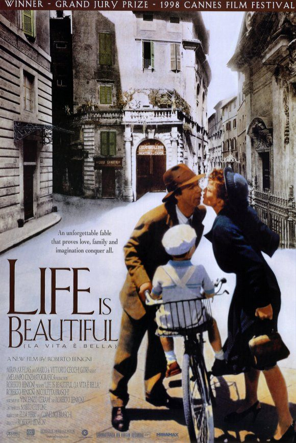Life Is Beautiful (1998) - Synopsis:	Benigni's Guido is so intent on believing that life is--and should be--beautiful, he goes to great lengths to ensure that vision for his wife and, particularly, his son.