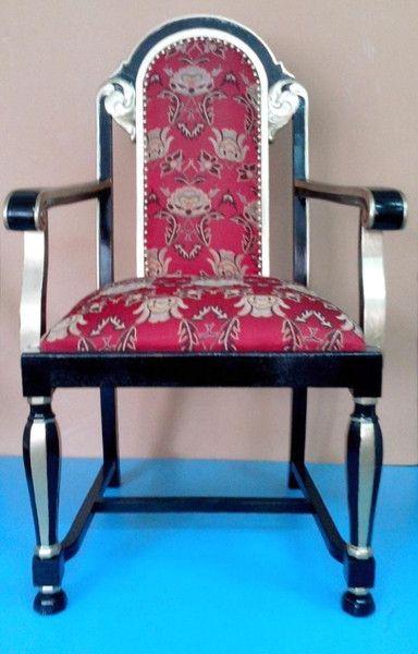 Jugendstil Armlehn Stuhl Sessel schwarz / rot von Royal Classics Stilmöbel auf DaWanda.com