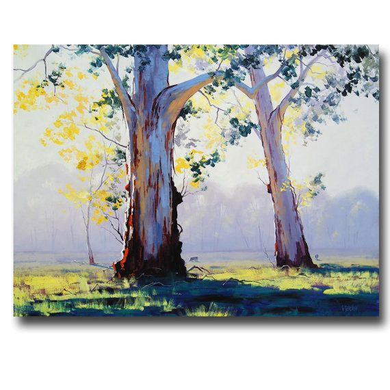 EUCALYPTUS TREES PAINTING Australian artwork Trees landscape Traditional Painting by G.Gercken