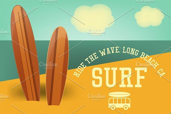 Surfing Retro Poster by elfivetrov on @creativemarket