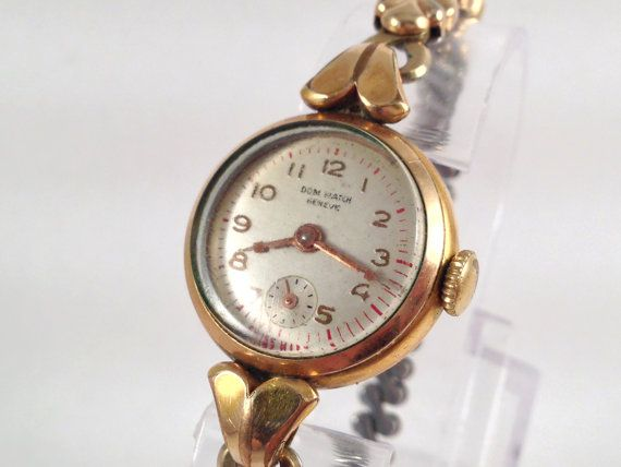 1950's Dom Watch Geneve Mechanical Gold by StonebrookVintage