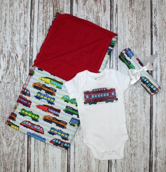 Train Blanket. Baby Gift Set. Baby Shower Gift Set. Boy Baby Blanket. Train Baby Blanket. Train Onesie. Train Baby Set. Train Blanket