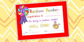 Editable Rainbow Reader Book Certificate - reading, certificate