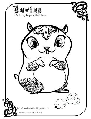 Cute hamster coloring page creative cuties pinterest for Littlest pet shop coloring pages cuties