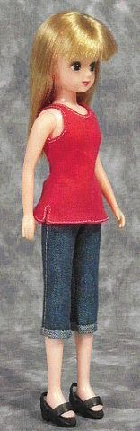 一枚タンクトップ(リカちゃん) 「パプペポ」着せ替え人形の手作り服の作り方