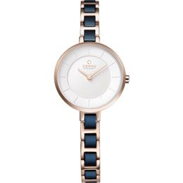 OBAKU Vind - cobalt // rose gold and blue stainless steel watch