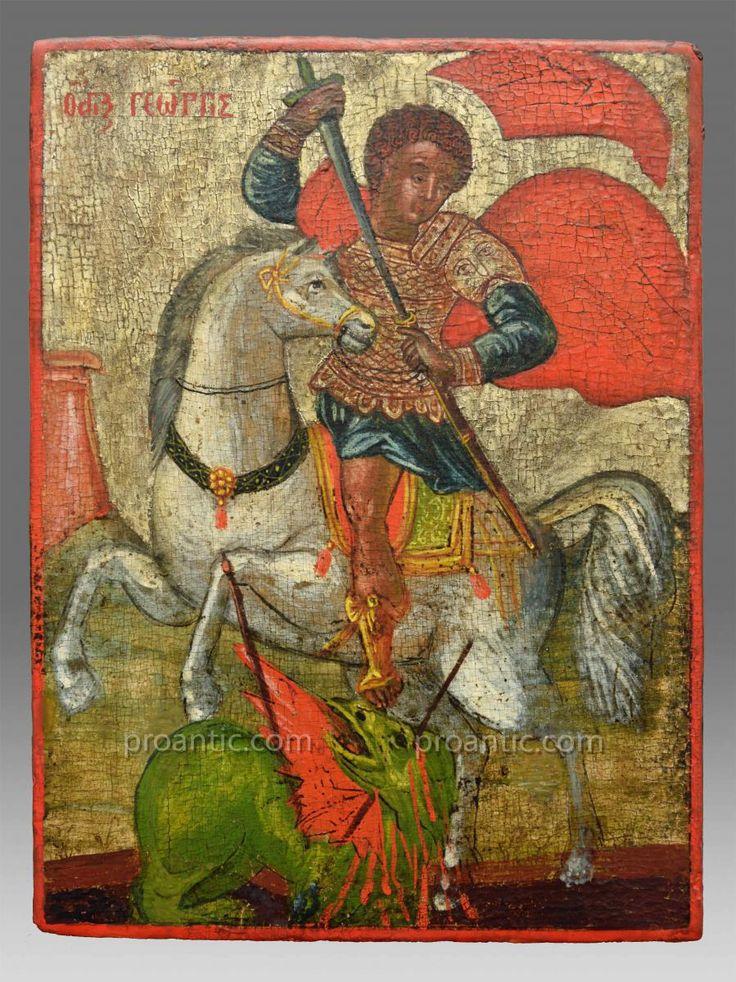 Icone De Saint George Grecque 18 Eme Siecle
