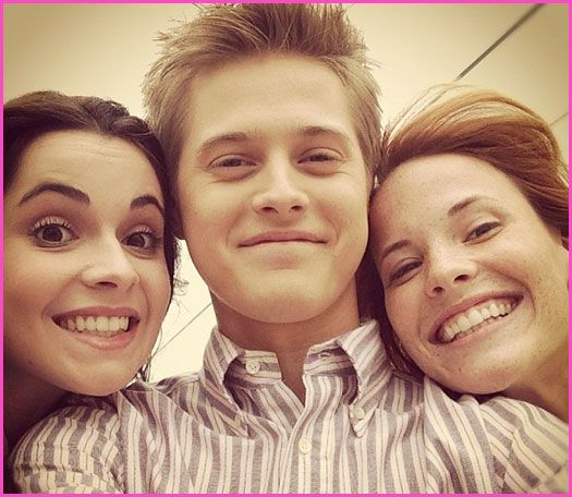 "Lucas Grabeel, Vanessa Marano And Katie Leclerc On The Set Of ABC Family's ""Switched At Birth"" Season 2"
