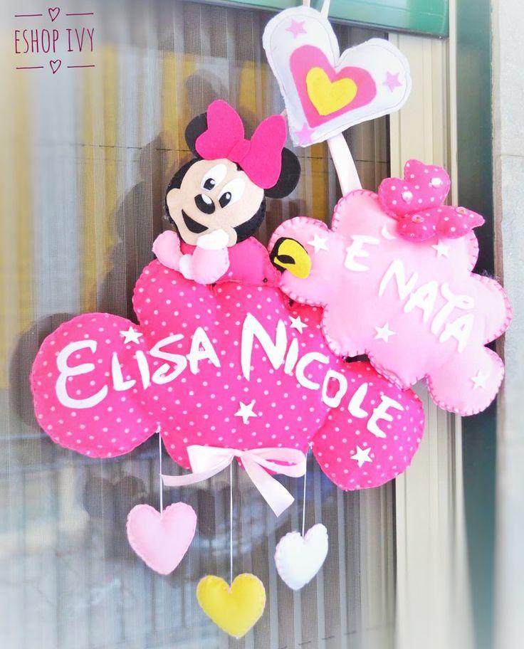 Fiocco nascita minnie  personalizzato con nome bimba rosa fucsia pois