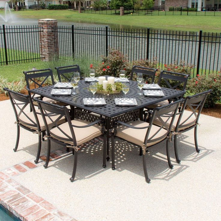 Lakeview Outdoor Designs Carrolton 8 Person Cast Aluminum Patio Dining Set  With Square Table (