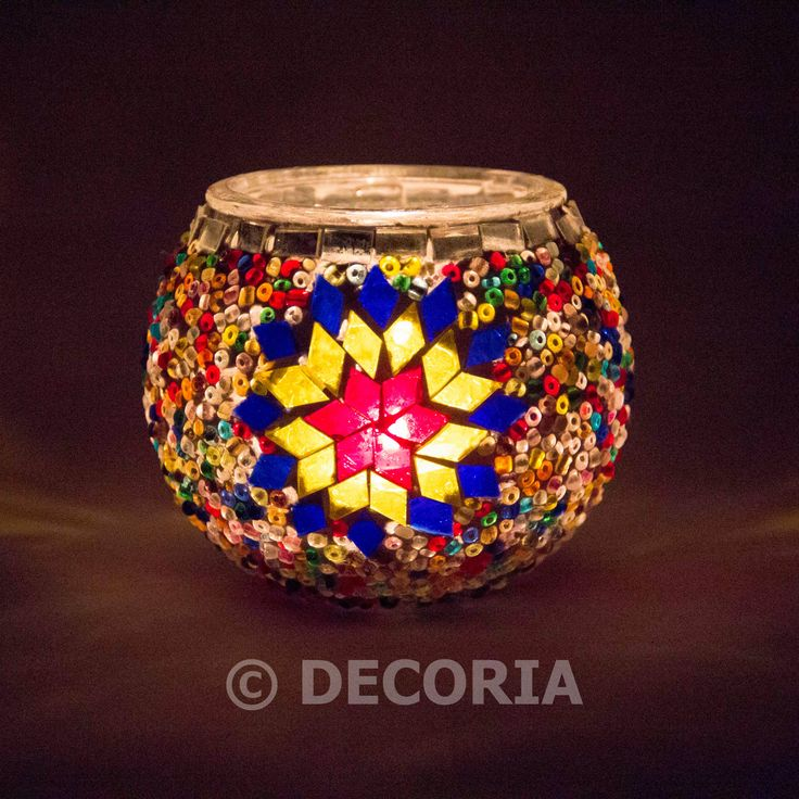 Candle Holder - Yellow & Multi Colour - DECORIA HOME & GIFT