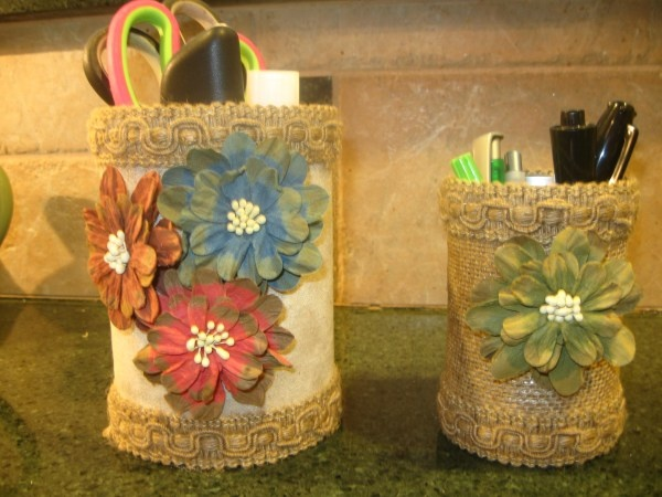 Desk Organizers made from recycled vegetable can/ice tea canister @  http://www.twelveoaksmanor.com