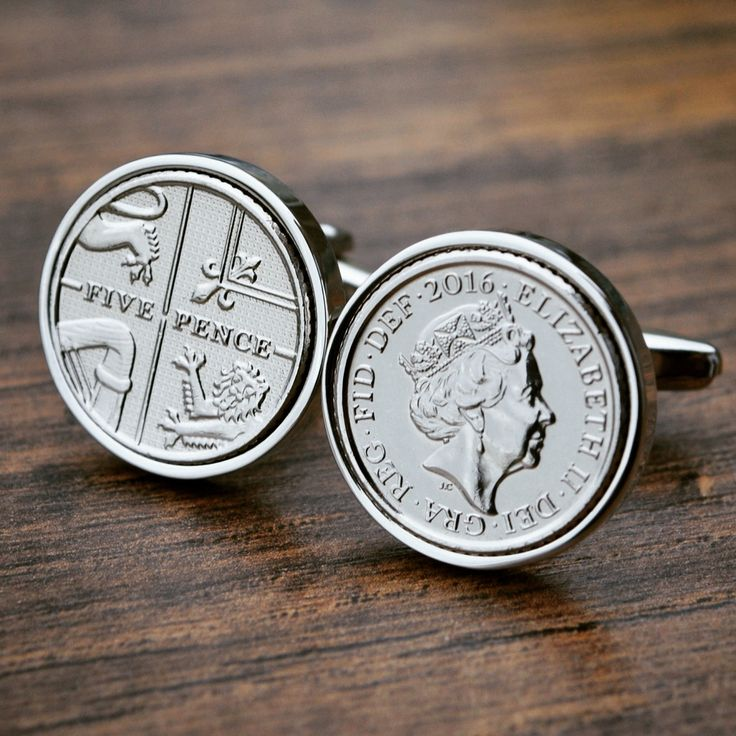 2016 Five Pence Cufflinks - Coin Cufflinks 5p Cufflinks Mens Anniversary Present Gift Cufflinks Birth Year UK Gift Wedding Day Gift 2016 by JFoxCufflinks on Etsy