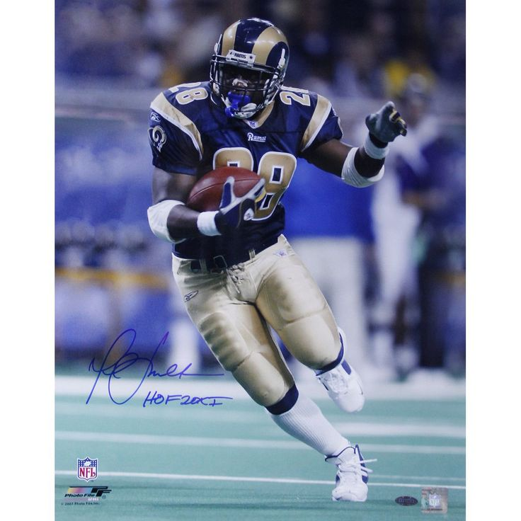 Marshall Faulk Rams Rushing Head On Vertical 8x10 Photo w/ HOF 20XI Insc.