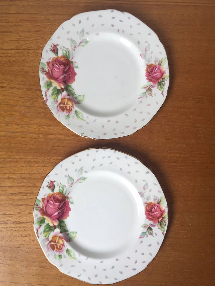 "Paragon ""Golden Emblem"" Vintage Plates, Pink Rose Grey Leaves Side Plates, Bone China Dishes, Pair of Dessert Plates, Dinnerware by CupandOwl on Etsy"