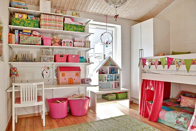 the boo and the boy: loft bed. I like the idea of having a mattress under this mid-sleeper for sleepovers and a reading cosy corner. The little study area is cute too for little girls.