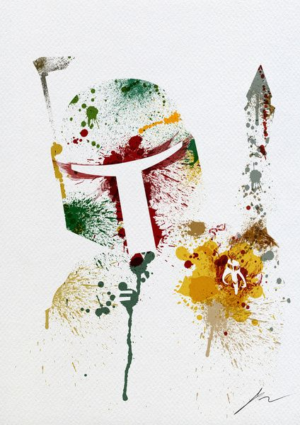 Star Wars paint splatter: Boba Fett Art Print I think I need to buy you this.