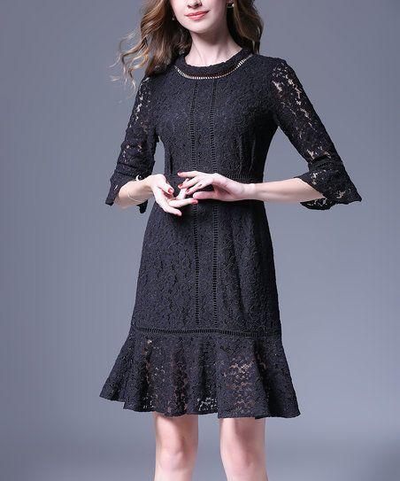 Vicky and Lucas Black Lace Ruffle Mock Neck Dress | zulily