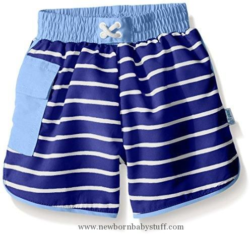Baby Boy Clothes i play. Toddler Boys' Striped Pocket Pocket Board Shorts with Built-In Swim Diaper, Royal Stripe, 4T