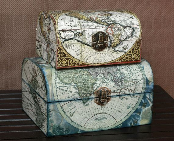 Wooden Treasure Vintage Decoupage Box