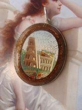 Roman Micromosaic pendant depicting the Colisseum set in silver: Www Rubylane Com Shops Chateau, Micro Mosaics, Colisseum Set