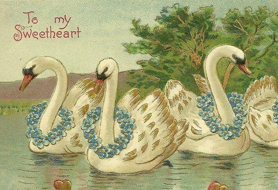 Elegant Romantic Vintage Valentines Day Postcard by TheOldBarnDoor