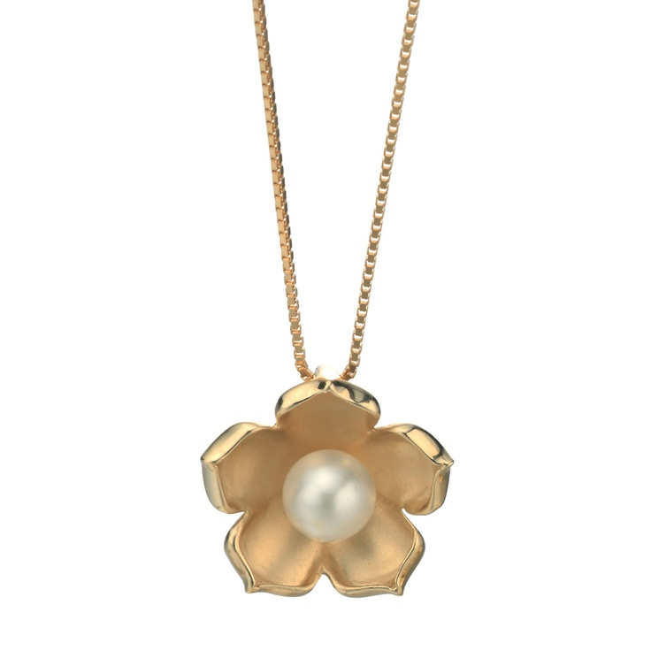 Gecko Jewellery 9ct Gold and Pearl Flower Necklace - Havens