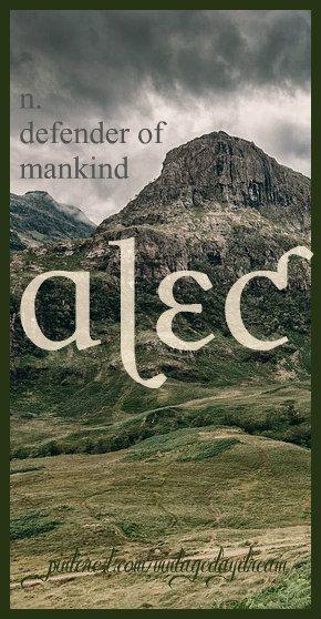 Baby Boy Name: Alec. Meaning: Defender of Mankind. Origin: Greek; Scottish. https://www.pinterest.com/vintagedaydream/baby-names/