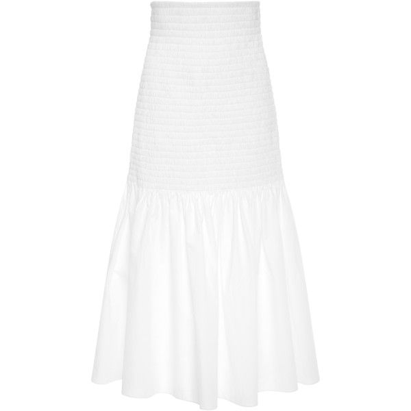Rosetta Getty Cotton Skirt ($890) ❤ liked on Polyvore featuring skirts, white, rosetta getty, cotton skirts, white knee length skirt, calf length skirts and cotton knee length skirt