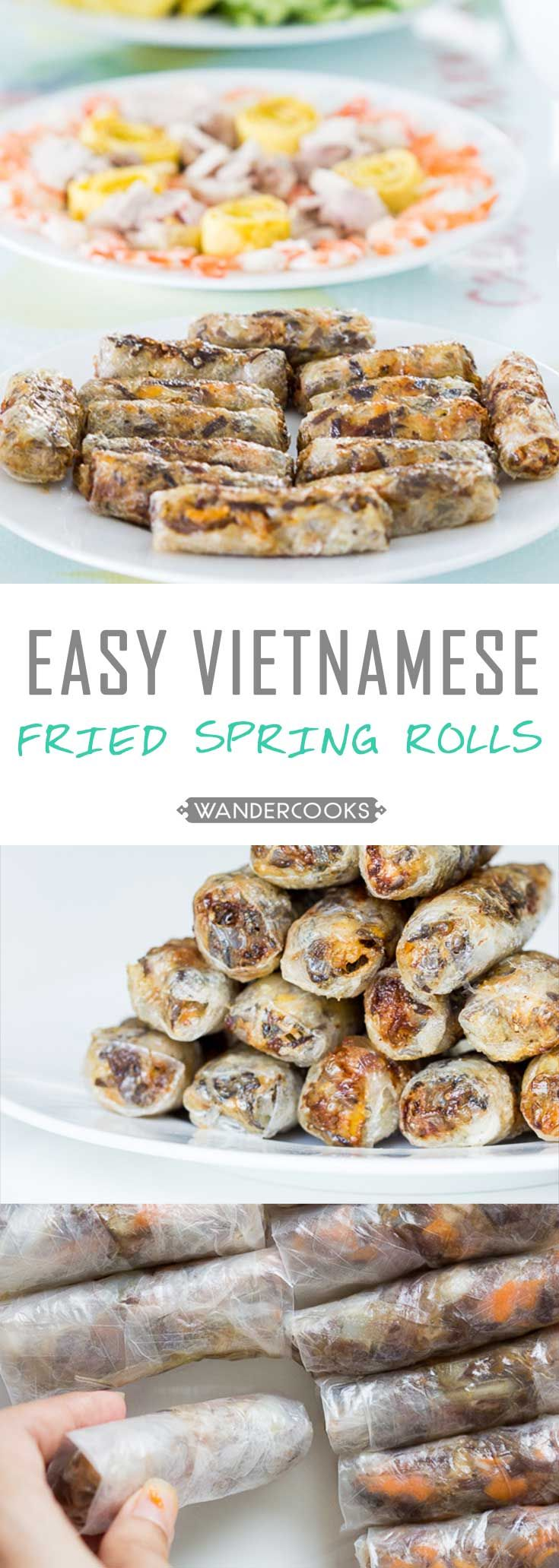Easy Vietnamese Fried Spring Rolls - Filled with pork and prawn (shrimp) goodness, these spring rolls are lightly fried for a crispy, crunchy and flavour packed appetiser. Gluten Free. | wandercooks.com
