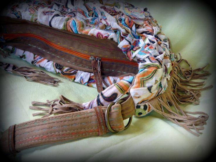 Handmade by Judy Majoros - Leather fringe boho bag. shoulder bag. Crossbody bag. Multi colour. Recycled bag
