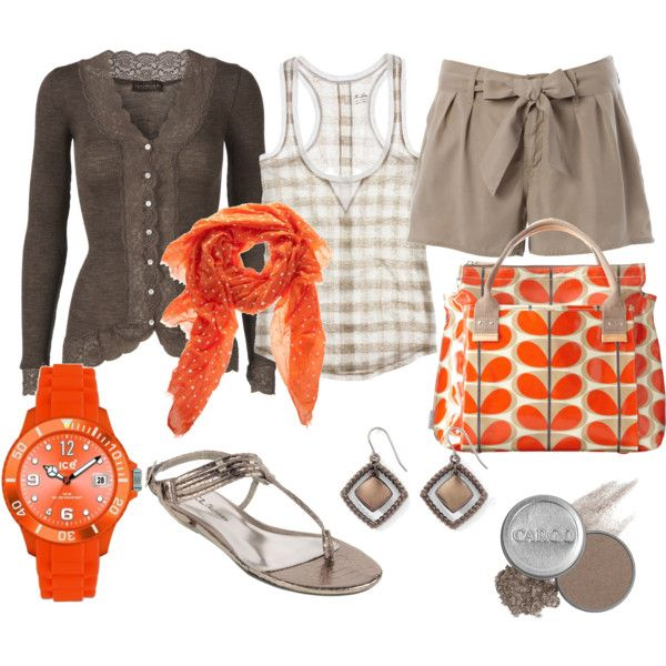 Taupe and tangerine, created by luchenskil on PolyvoreColors Combos, Fashion, Combos Chic, Color Combos, Style, Taupe, Colors Combinations, Cute Outfit, Tangerine Colors