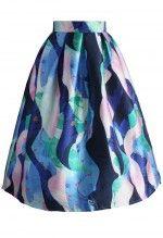 Marine Fantasia Printed Midi Skirt