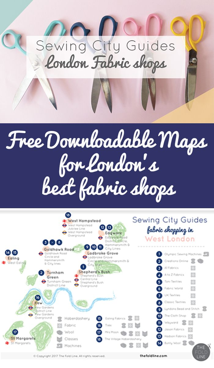 Find the best fabric shops in London with our free downloadable map! If you sew you need this map to find the best sewing stores in the city!