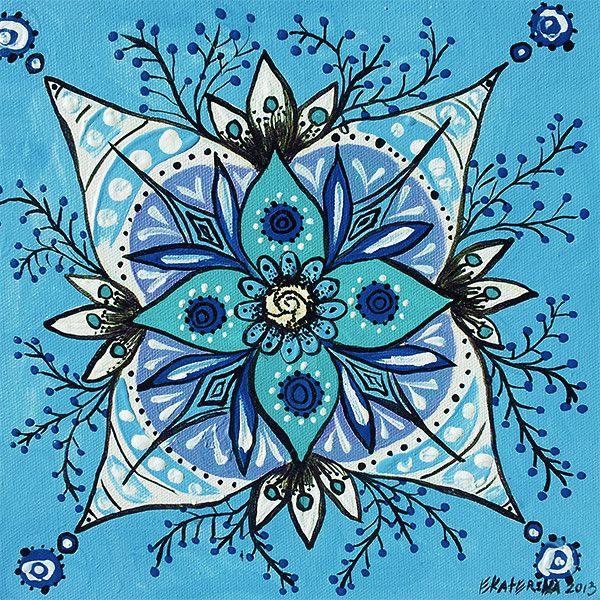 Small Mandala Painting - Original Blue Artwork