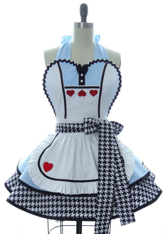 Retro Apron - Alice in Wonderland Sexy Womans Aprons - Vintage Apron Style - Wonderland Pin up Hero Rockabilly Cosplay