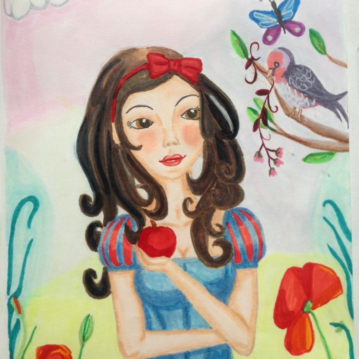 Snow white is eating the Apple! fairytale handmade art from Lumisadesign. Also available as postcards.